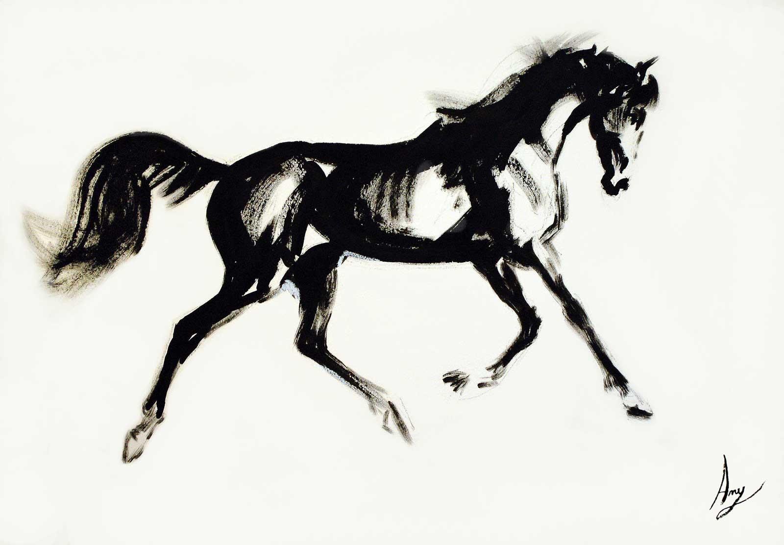 'Namib Desert Horse' - Ink And Acrylic