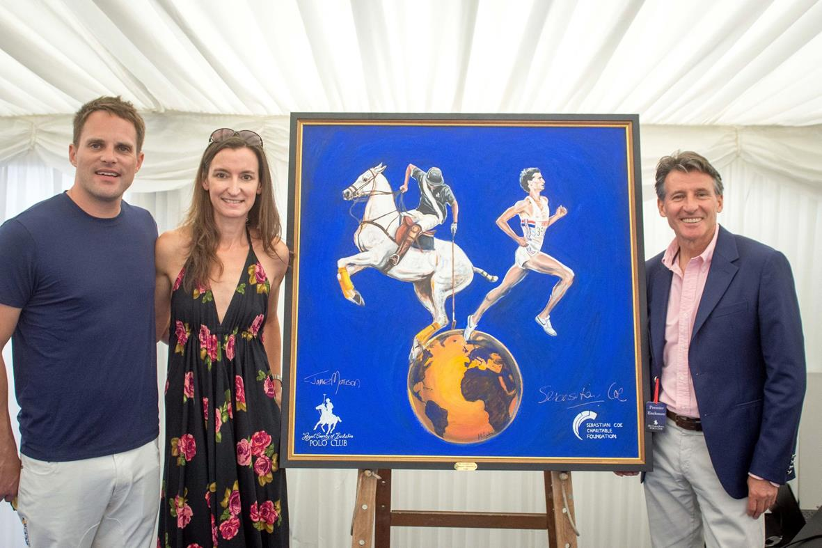 Amy, Jamie Morrison And Sebastian Coe With Her 'Sebastian Coe Charitable Foundation, Concept For a Trophy', Acrylic on Canvas Original